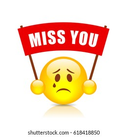 Miss you vector sign on white background