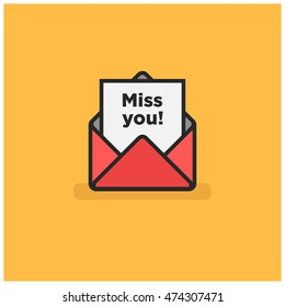 'Miss you!' Written Inside An Envelope Letter (Line Icon in Flat Style Vector Illustration Design)