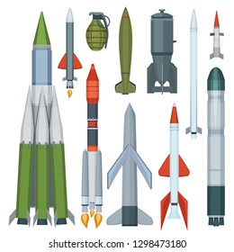 Missile collection. Defense flight armour military weapons vector cartoon set
