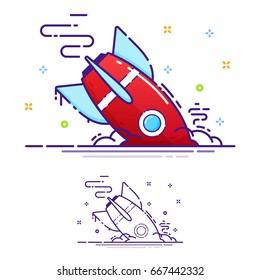 The missile crashed, error, a broken rocket