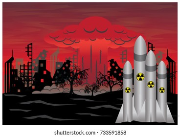 Missile explodes with nuclear bombs and ruins of the city. The symbolic image of future war.
