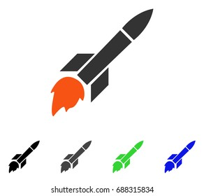 Missile Flight flat vector pictogram. Colored missile flight gray, black, blue, green pictogram versions. Flat icon style for graphic design.