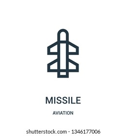 missile icon vector from aviation collection. Thin line missile outline icon vector illustration. Linear symbol for use on web and mobile apps, logo, print media.