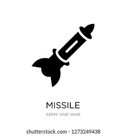 missile icon vector on white background, missile trendy filled icons from Army and war collection, missile simple element illustration
