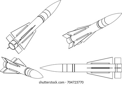 Missile line vector illustration.