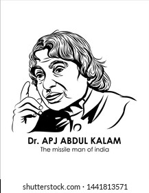 The missile man of india. Dr. APJ ABDUL KALAM SKETCH