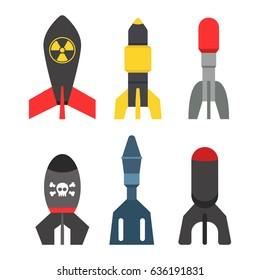 Missile rocket set icon vector illustration cartoon isolated bomb flat style white background threat