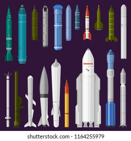 Missile vector military rocket weapon and ballistic nuclear bomb illustration militarily set of rocket-propelled warhead isolated on background