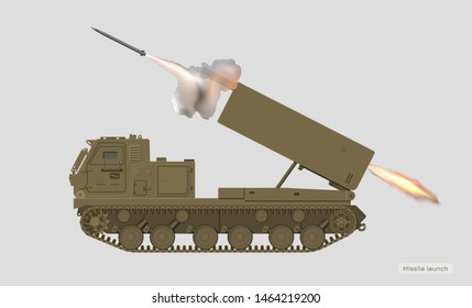 Missile vehicle in realistic style. Rocket artillery. 3d image of military tractor with jet weapon. Camouflage tank. Vector illustration
