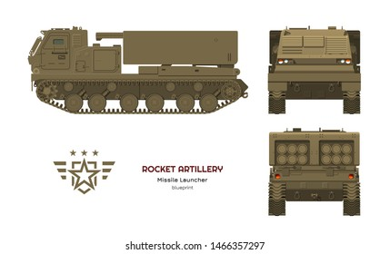 Missile vehicle in realistic style. Rocket artillery. Side, front and back view. 3d image of military tractor with jet weapon. Camouflage tank. Vector illustration