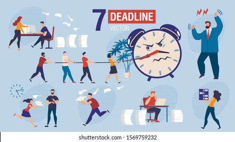 Missing Business Project Deadline Trendy Flat Vector Scenes Set. Businesspeople Characters, Office Workers Hurrying to Finish Work, Running with Documents, Angry Boss Arguing on Employees Illustration