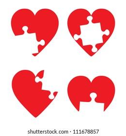 Missing hart piece illustration set