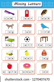 missing letters, Find the missing letters and write them in relevant places, Worksheet for children, Educational page for kids, dyslexia activities