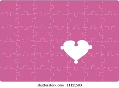 MISSING LOVE - Puzzle with one missing heart shaped part. Vectorial drawing.