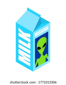 Missing Milk alien. Search for missing UFO on milk packaging. vector illustration