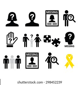 Missing people, missing child icons set