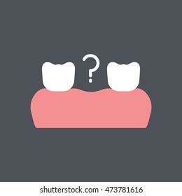 missing tooth icon in flat style