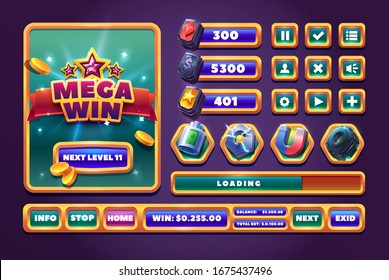 Mission complete cartoon vector illustration. Online game app UI isolated design element. Mega win screen and space game icon set.