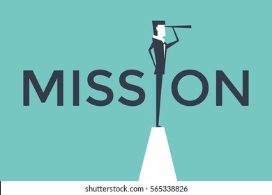 Mission concept vector illustration with business man looking through telescope from a cliff.