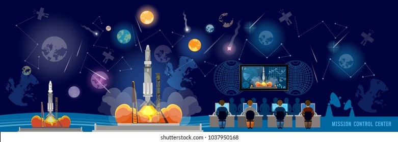 Mission Control Center banner, start rocket in space. Shuttle taking off on mission, spaceport. Modern space technologies, return report of start of rocket