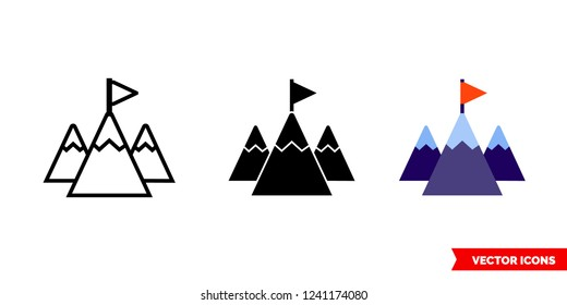 Mission icon of 3 types: color, black and white, outline. Isolated vector sign symbol.
