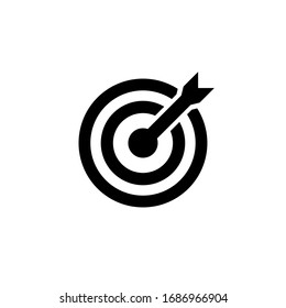 Mission icon or business goal logo in black design concept on an isolated white background. EPS 10 vector.