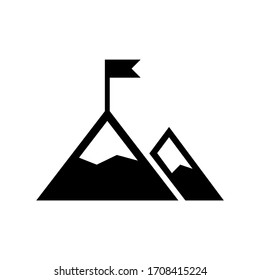 Mission icon, goal, mountain with a flag in black simple design on an isolated background. EPS 10 vector.