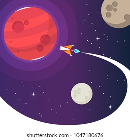 Mission to Mars vector. cute cartoon concept for using as info graphic and background.
