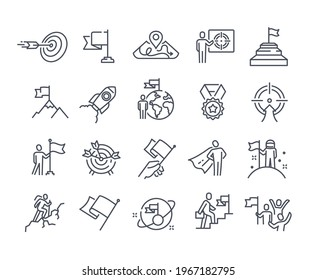 Mission, purpose, objective, aim outline icons. Business concepts. Businessman with flag, achievement and goal icons. Editable stroke. Set of flat vector illustrations isolated on white background