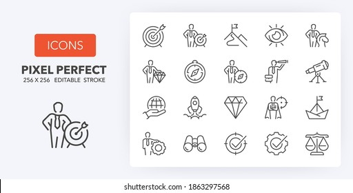 Mission, vision and values. Business concepts. thin line icon set. Outline symbol collection. Editable vector stroke.