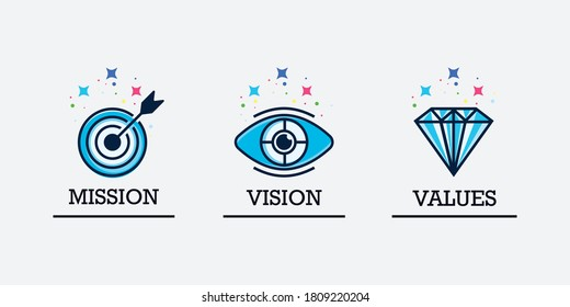 Mission vision values icon design vector illustration for multiple use