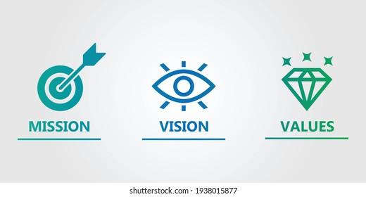 mission vision values icon design
