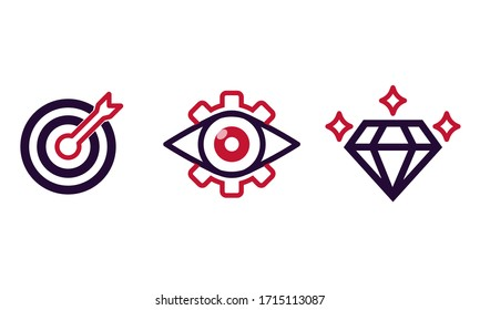 Mission, vision, values icon set or business goal and care logo in black design concept on an isolated white background. EPS 10 vector.