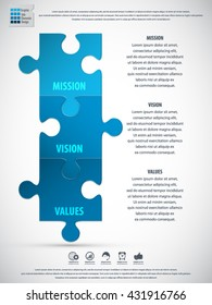 Mission, vision and values schema made from puzzle pieces. EPS 10 vector.