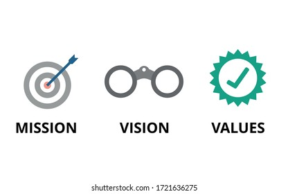 Mission, Vision, Values vector. Flat design on white background. Strategy and business concept.