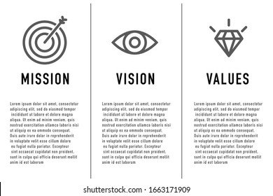Mission and Vision, Values. Web page template. Modern flat design concept. Vector