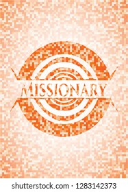 Missionary abstract orange mosaic emblem with background