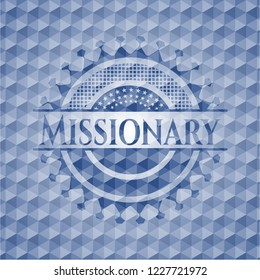 Missionary blue emblem or badge with abstract geometric polygonal pattern background.