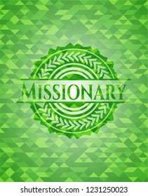 Missionary green emblem with triangle mosaic background