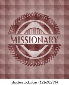 Missionary red geometric pattern emblem. Seamless.