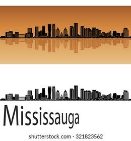 Mississauga skyline in orange background in editable vector file