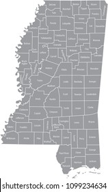 Mississippi county map vector outline gray background. Map of Mississippi state of USA with counties borders and names labeled