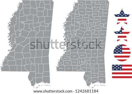 United States Map With County Names.Mississippi County Map Vector Outline Gray Stock Vector Royalty