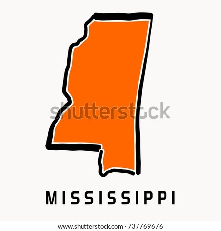 Mississippi State Map Outline.Mississippi Map Outline Smooth Simplified Us Stock Vector Royalty