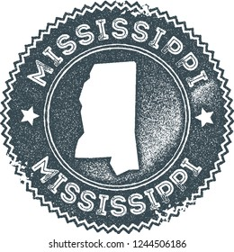 Mississippi map vintage stamp. Retro style handmade label, badge or element for travel souvenirs. Dark blue rubber stamp with us state map silhouette. Vector illustration.