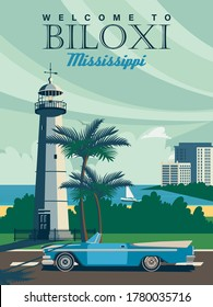 Mississippi sightseeings with Biloxi on a travel poster in vintage design with a retro palette