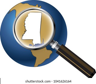 Mississippi State Map Enlarged with Magnifying Glass on Globe