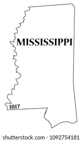 A Mississippi state outline with the date of statehood isolated on a white background