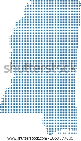 Mississippi State Map Outline.Mississippi State Usa Map Dots Vector Stock Vector Royalty Free