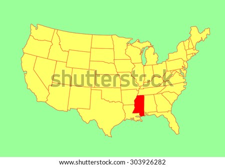 United States Map Mississippi.Mississippi State Usa Vector Map Isolated Stock Vector Royalty Free